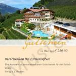 Muster Hotelgutschein Grünwalderhof in Schenna